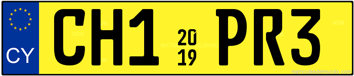 Genera y crea tu propia matricula de Chipre automovil taxi/ Generate your own diecast plate for Cyprus car taxi yellow