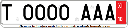 Genera tu propia matricula española de turista temporal provisional franja roja / Generate your own spanish license plate from Temporal Tourist red strip