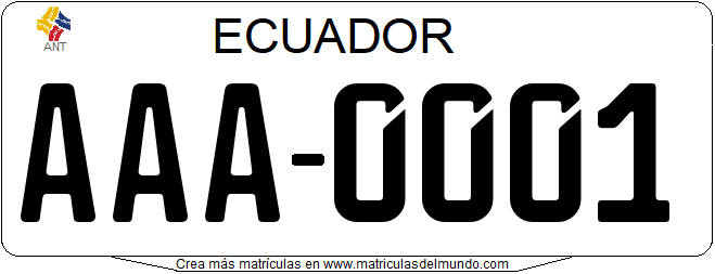Genera tu propia matricula ecuatoriana ecuador vehiculo privadogratis / Generate your own ecuador license plate from private owner for free