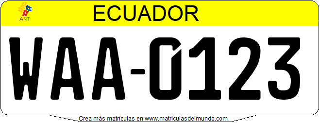Genera tu propia matricula ecuatoriana ecuador GOBIERNO CENTRAL gratis / Generate your own ecuador license plate from CENTRAL GOVERNMENT for free