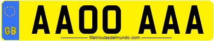 Matrícula de coche de Gran Bretaña con eurobanda