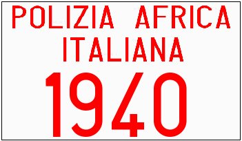 Genera y crea tu propia matricula de la policia italiana en africa entre 1939 y 1942 gratis / Generate your own italian license plate from colonial time for free
