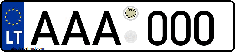 Genera y crea tu propia matricula de Lituania normal / Generate your own lithuanian rear license plate image