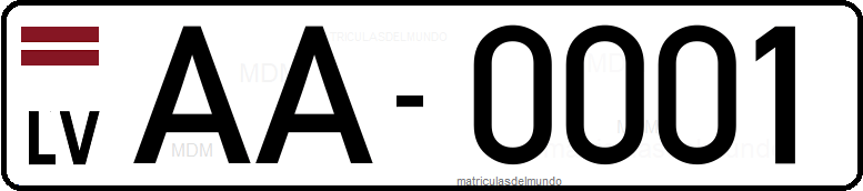 Genera y crea tu propia matricula de LETONIA antigua / Generate your own latvian old rear license plate image