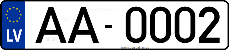 Genera y crea tu propia matricula de LETONIA actual eurobanda / Generate your own latvian current rear license plate image