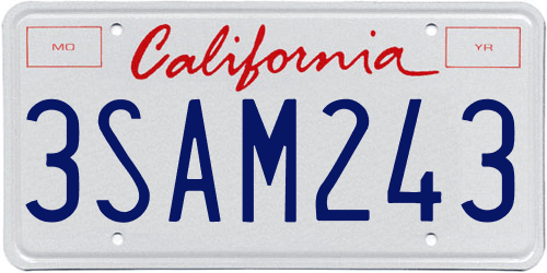 Genera y crea tu propia matricula de california imagen gratis actual letras rojas fuente/ Generate your own United States CALIFORNIA free license plate image from normal system for free