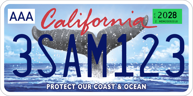 Genera y crea tu propia matricula de california COLA DE BALLENA animalesimagen gratis actual letras AZULES fuente/ Generate your own United States CALIFORNIA white tail free license plate image from normal system for free