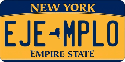 Genera y crea tu propia matricula de NUEVA YORK actual de sistema normal gratis imagen dibujo estados unidos/ Generate your own United States NEW YORK NEW fake free license plate image from normal system for free