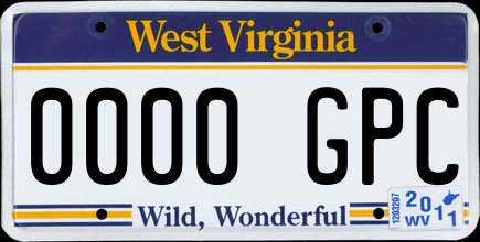Genera y crea tu propia matricula de WEST VIRGINIA virginia del este de sistema normal gratis imagen dibujo estados unidos/ Generate your own United States West virginia fake free license plate image from normal system for free