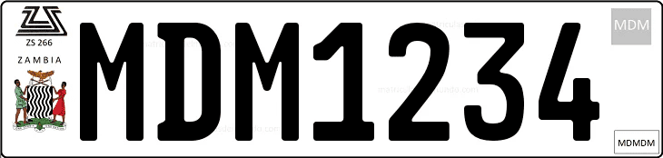 Genera y crea tu propia matricula de Zambia para coche miniatura diescast/ Generate free image similar to Zambia license plate for your diecasts