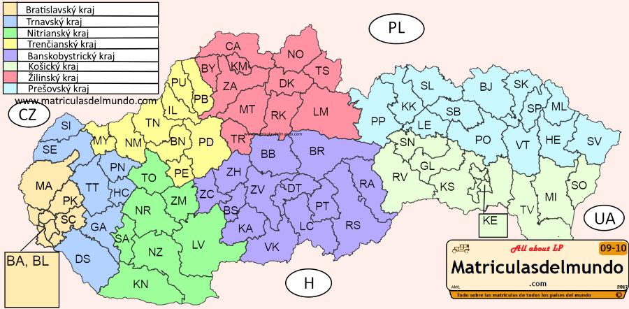 Mapa de las matrículas de Eslovaquia