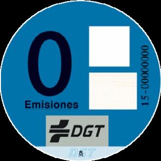 Pegatina para vehículos eléctricos en España
