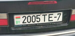 Matrícula de coche de Bielorrusia con el nuevo código verde