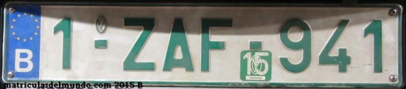 Matrícula comercial belga nueva con letra Z y caracteres verdes