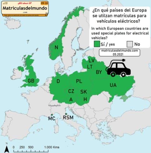 Mapa de los países de Europa con matrículas reservadas para vehículos eléctricos